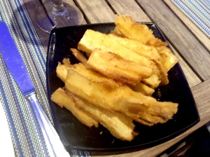 Fried Yuca (pronounced yoo-kah, not to be confused with yucca-pronounced yuh-kah)