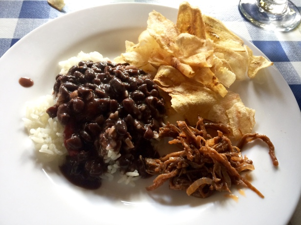 Ropa Vieja, Black Beans and Rice, and Fried Plantain Chips