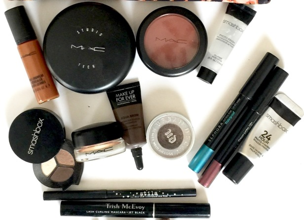 Makeup from MAC, Sephora, Smashbook, Trish McEvoy, and Urban Decay